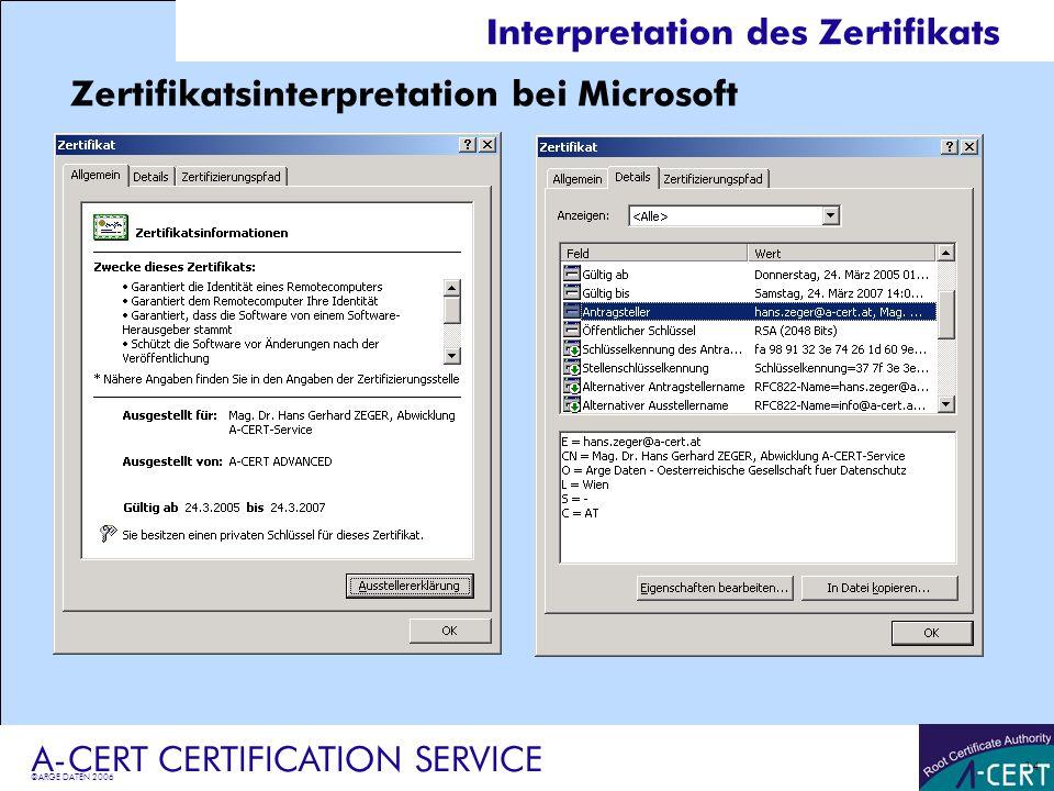 Interpretation des Zertifikats