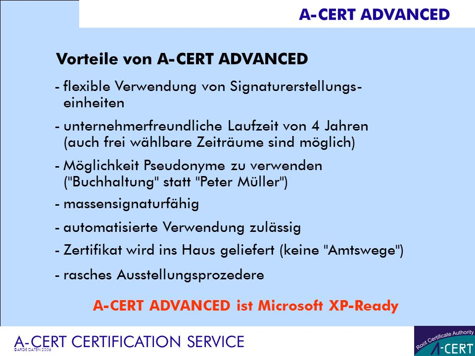 A-CERT ADVANCED ist Microsoft XP-Ready