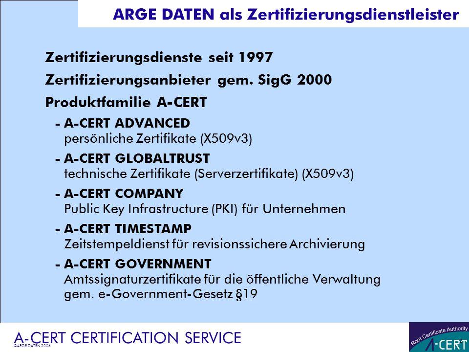 ARGE DATEN als Zertifizierungsdienstleister