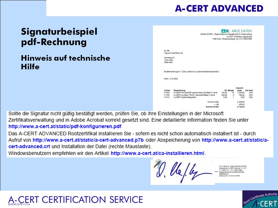 Signaturbeispiel pdf-Rechnung