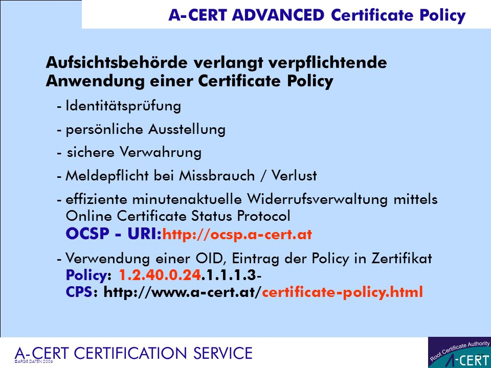 A-CERT ADVANCED Certificate Policy