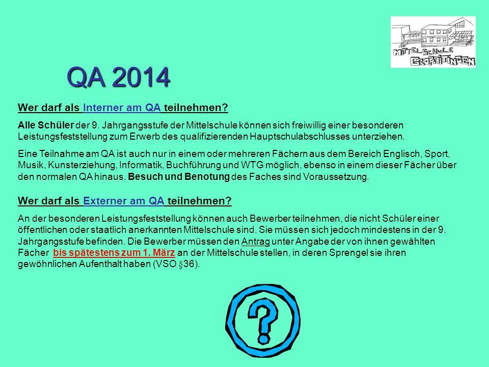 QA 2014 Wer darf als Interner am QA teilnehmen