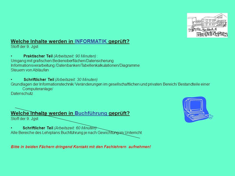 Welche Inhalte werden in INFORMATIK geprüft