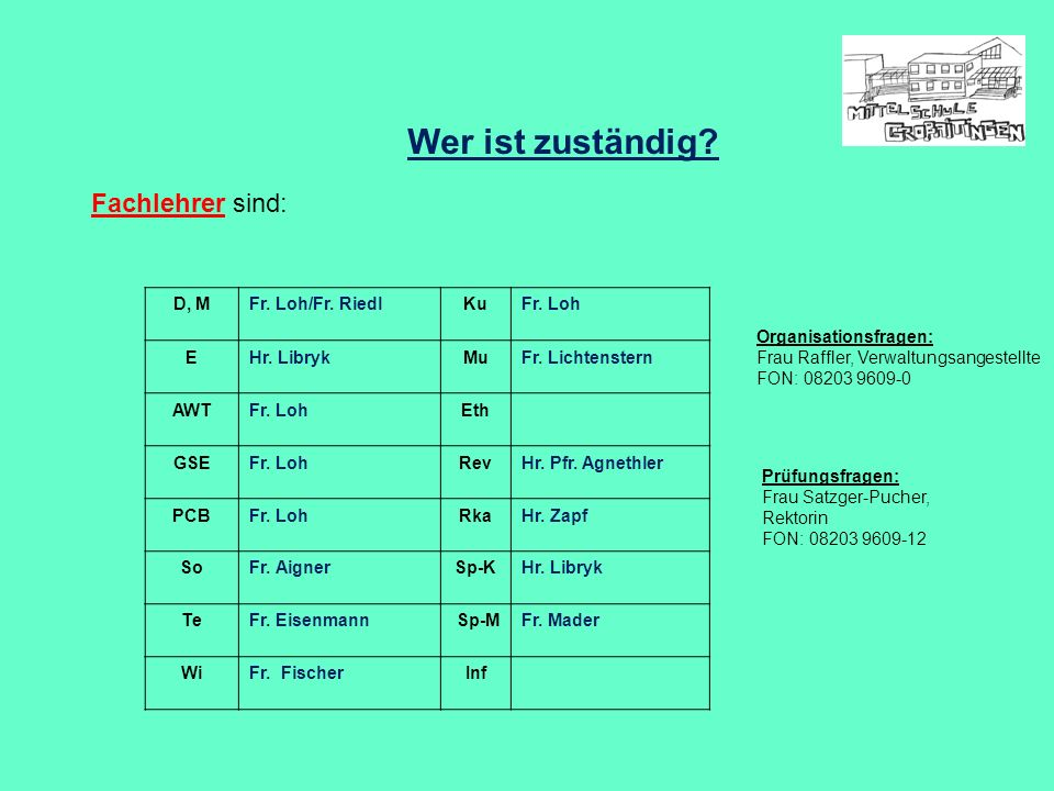 Wer ist zuständig Fachlehrer sind: D, M Fr. Loh/Fr. Riedl Ku Fr. Loh