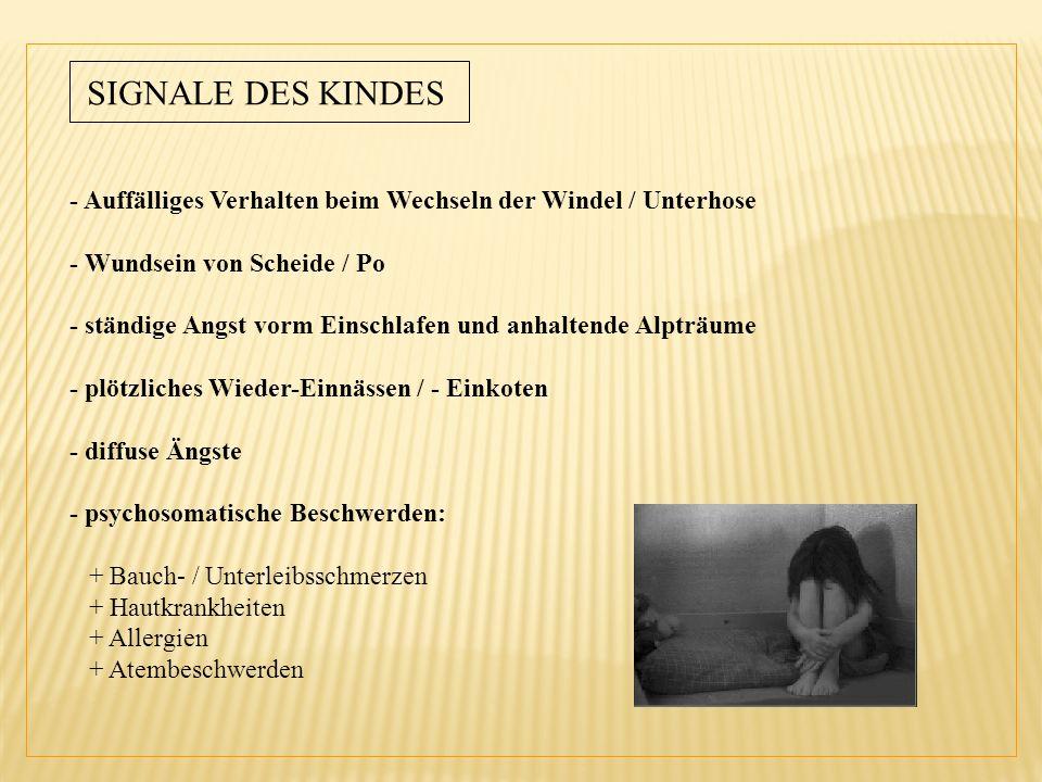 SIGNALE DES KINDES - Auffälliges Verhalten beim Wechseln der Windel / Unterhose. - Wundsein von Scheide / Po.