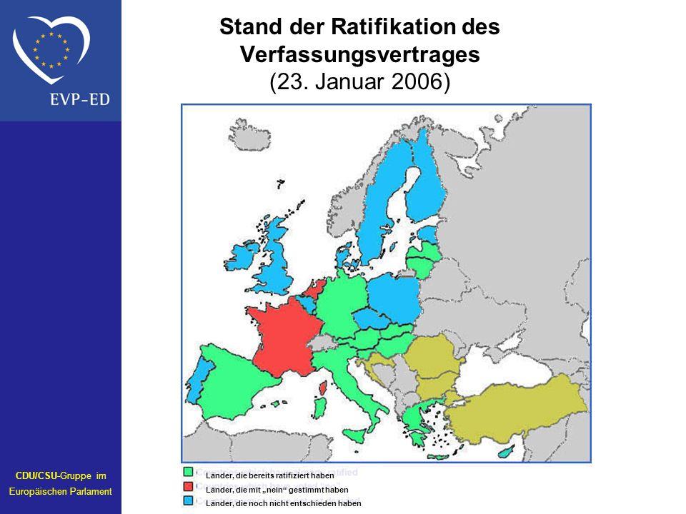 Stand der Ratifikation des Verfassungsvertrages (23. Januar 2006)