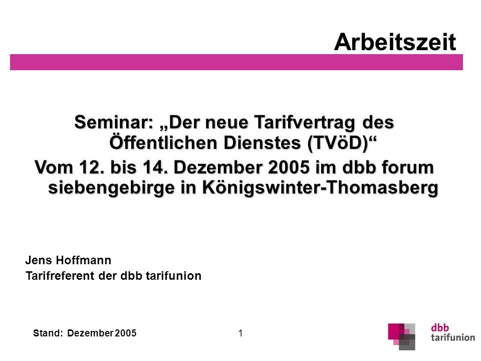 """Seminar: """"Der neue Tarifvertrag des Öffentlichen Dienstes (TVöD)"""