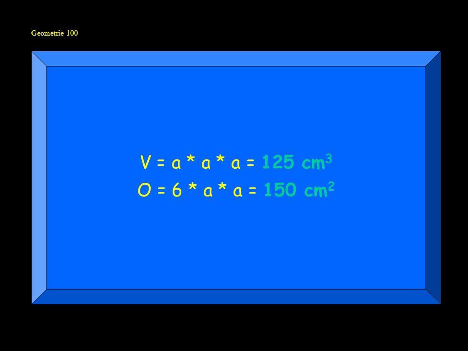 Geometrie 100 V = a * a * a = 125 cm3 O = 6 * a * a = 150 cm2