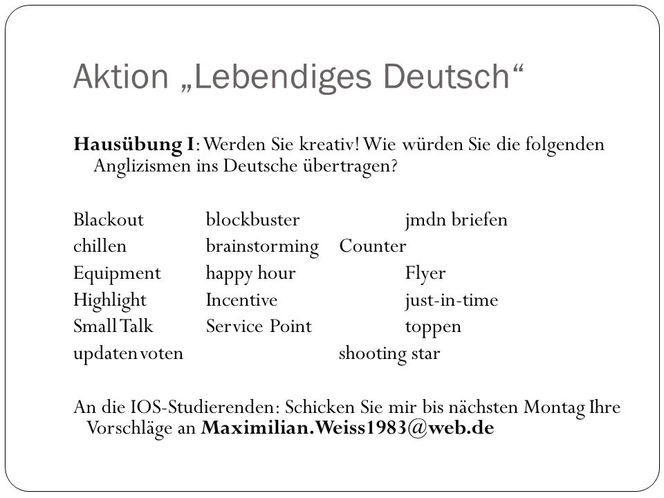 "Aktion ""Lebendiges Deutsch"