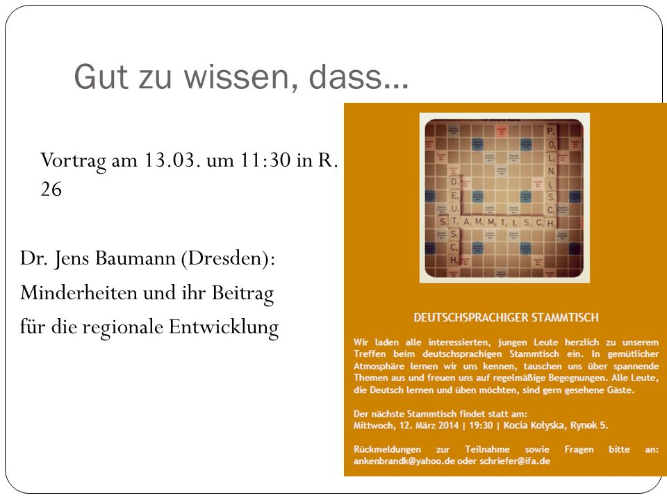Gut zu wissen, dass... Vortrag am 13.03. um 11:30 in R.