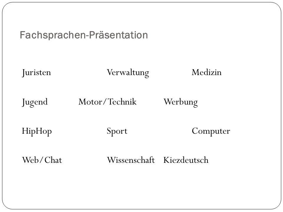Fachsprachen-Präsentation