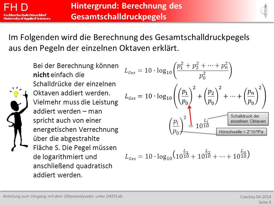 Hintergrund: Berechnung des Gesamtschalldruckpegels
