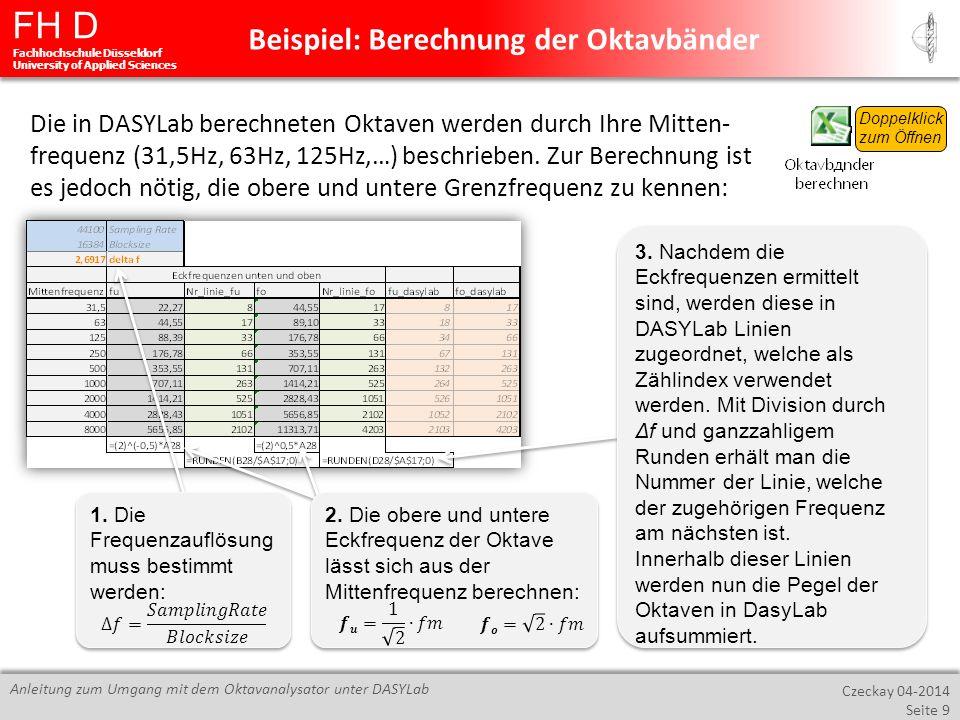 Beispiel: Berechnung der Oktavbänder