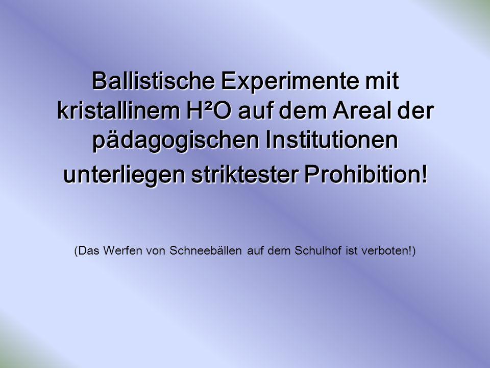 Ballistische Experimente mit kristallinem H²O auf dem Areal der pädagogischen Institutionen unterliegen striktester Prohibition.
