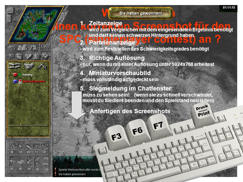 einen korrekten Screenshot für den SPC (singleplayer contest) an