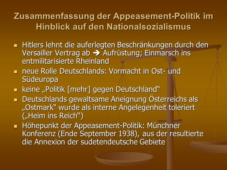 Zusammenfassung der Appeasement-Politik im Hinblick auf den Nationalsozialismus
