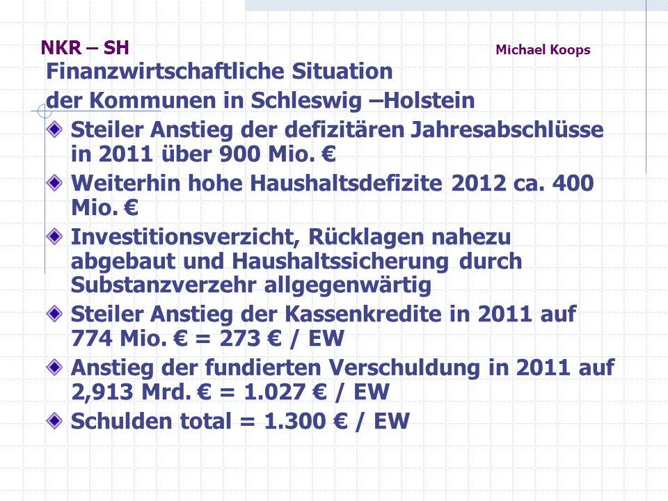 Finanzwirtschaftliche Situation der Kommunen in Schleswig –Holstein