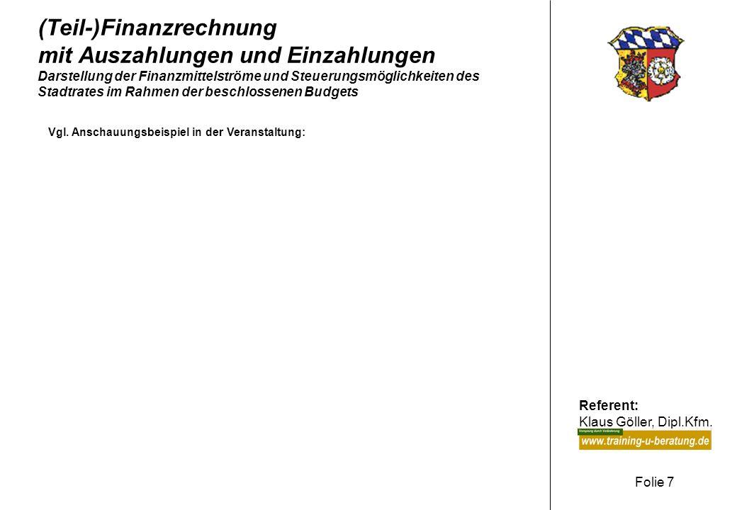 (Teil-)Finanzrechnung mit Auszahlungen und Einzahlungen Darstellung der Finanzmittelströme und Steuerungsmöglichkeiten des Stadtrates im Rahmen der beschlossenen Budgets