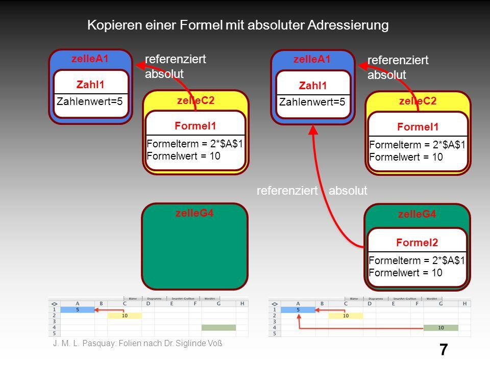 Kopieren einer Formel mit absoluter Adressierung