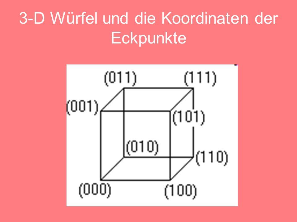 3-D Würfel und die Koordinaten der Eckpunkte