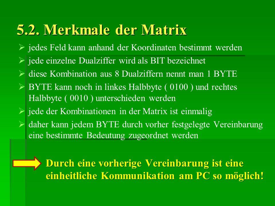5.2. Merkmale der Matrix jedes Feld kann anhand der Koordinaten bestimmt werden. jede einzelne Dualziffer wird als BIT bezeichnet.