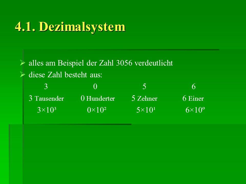4.1. Dezimalsystem alles am Beispiel der Zahl 3056 verdeutlicht