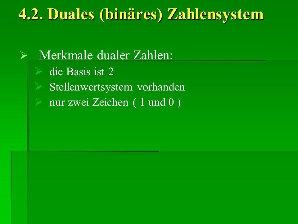 4.2. Duales (binäres) Zahlensystem