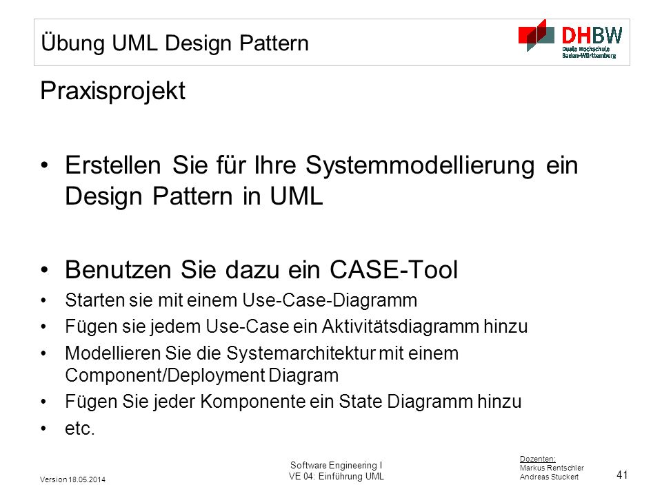 Übung UML Design Pattern