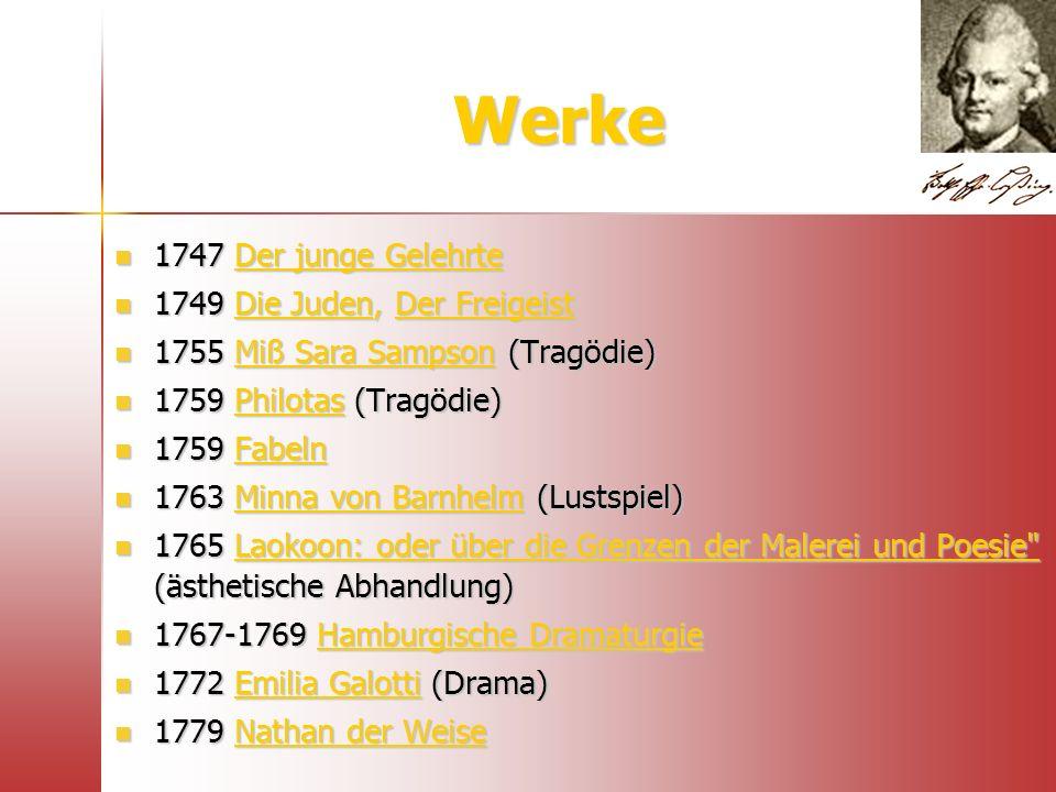 Werke 1747 Der junge Gelehrte 1749 Die Juden, Der Freigeist