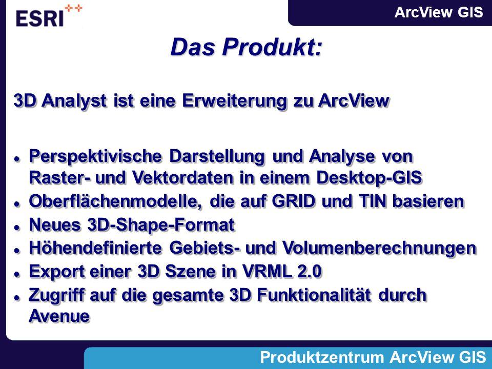 Das Produkt: 3D Analyst ist eine Erweiterung zu ArcView