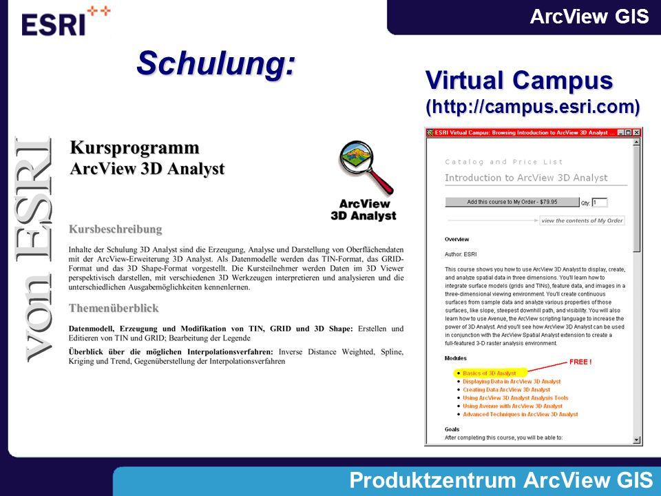 Schulung: Virtual Campus (http://campus.esri.com)