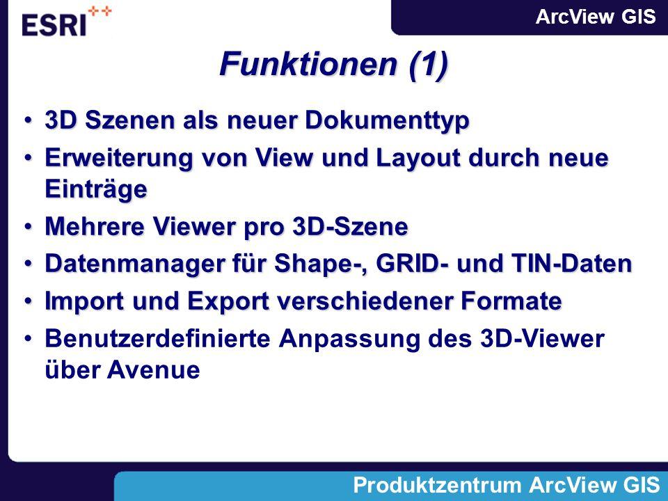 Funktionen (1) 3D Szenen als neuer Dokumenttyp