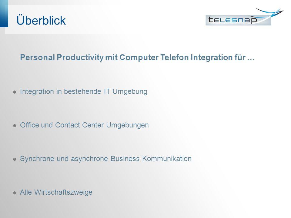 Überblick Personal Productivity mit Computer Telefon Integration für ... Integration in bestehende IT Umgebung.