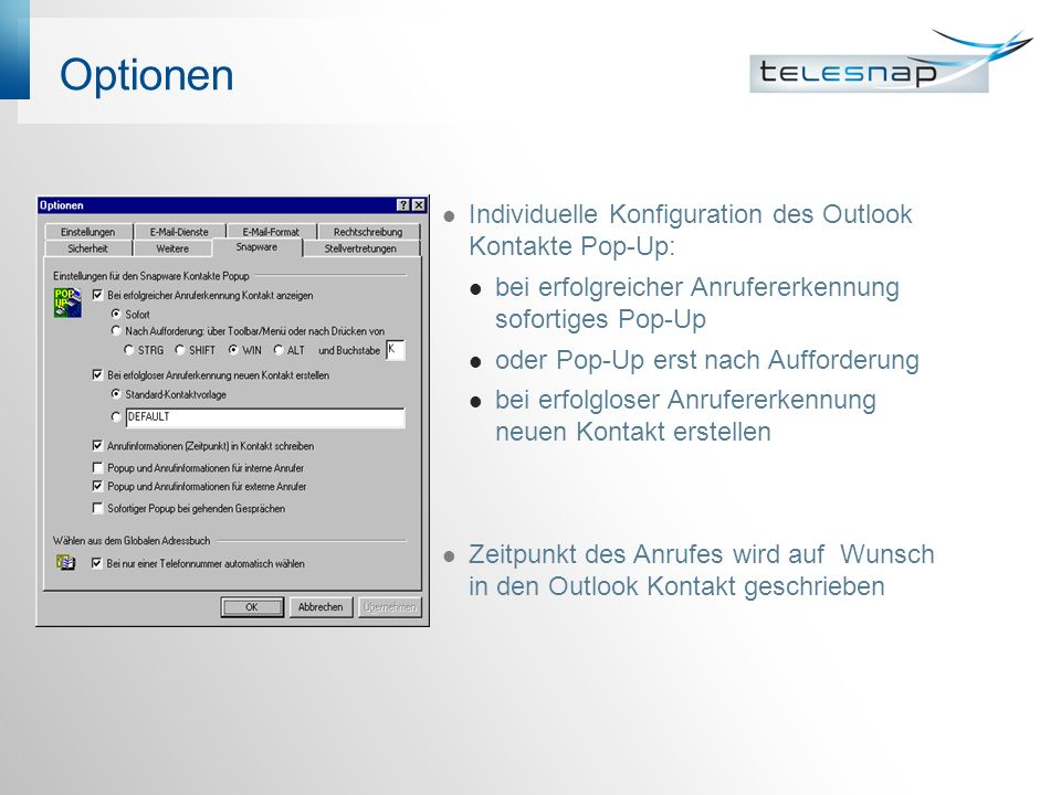 Optionen Individuelle Konfiguration des Outlook Kontakte Pop-Up: