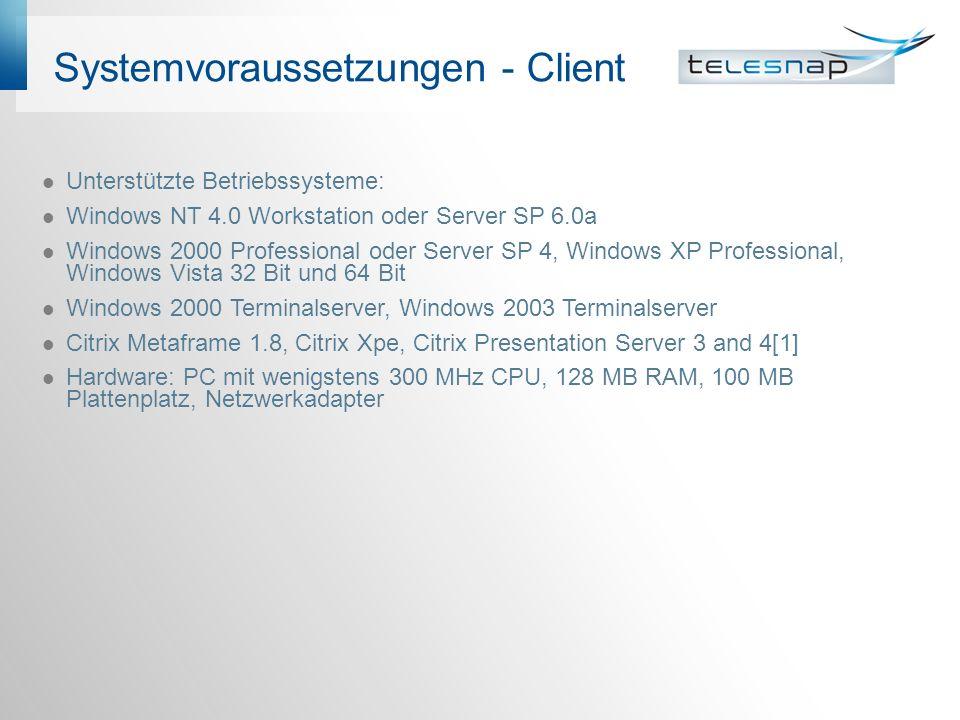 Systemvoraussetzungen - Client