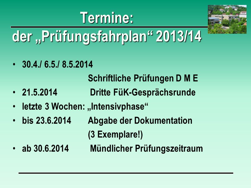 """Termine: der """"Prüfungsfahrplan 2013/14"""