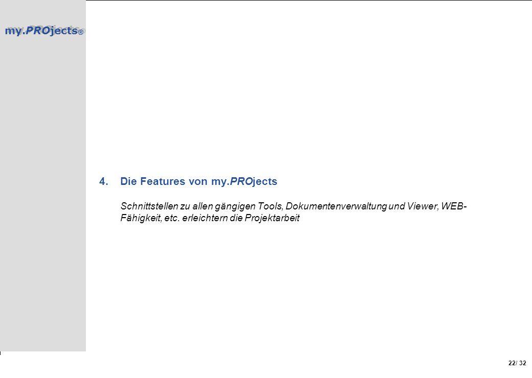 Die Features von my.PROjects Schnittstellen zu allen gängigen Tools, Dokumentenverwaltung und Viewer, WEB-Fähigkeit, etc.