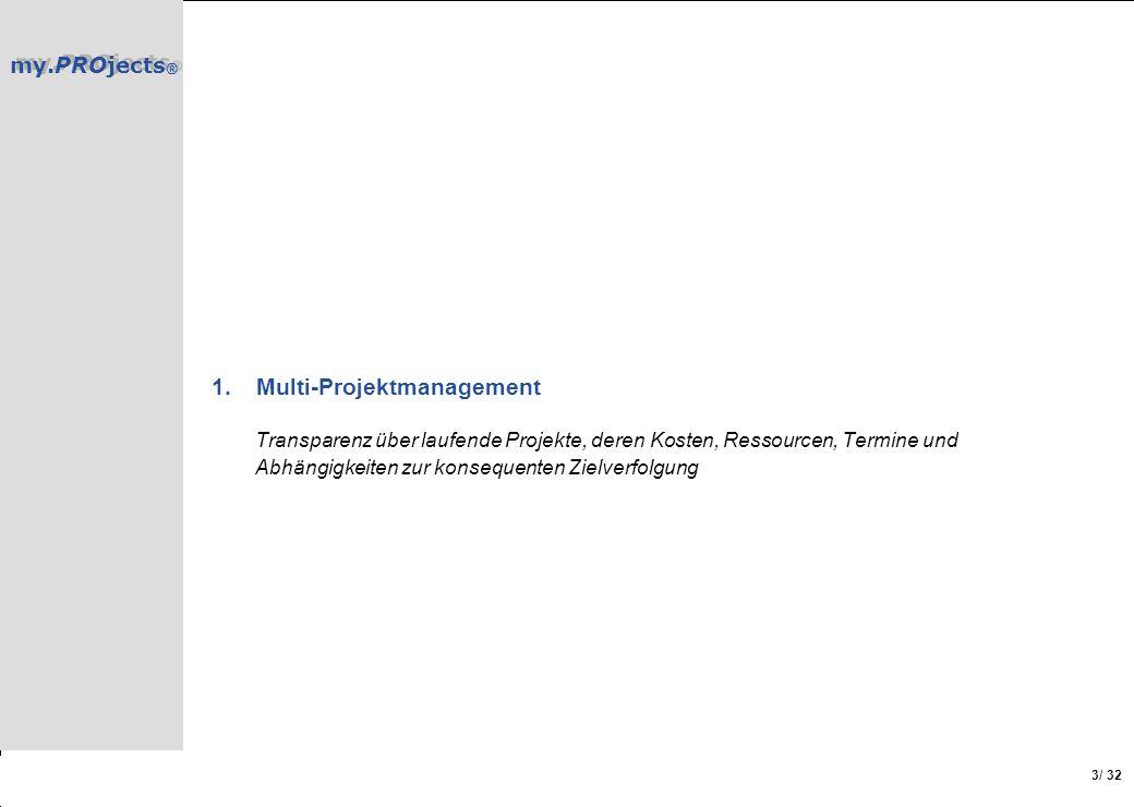 Multi-Projektmanagement Transparenz über laufende Projekte, deren Kosten, Ressourcen, Termine und Abhängigkeiten zur konsequenten Zielverfolgung