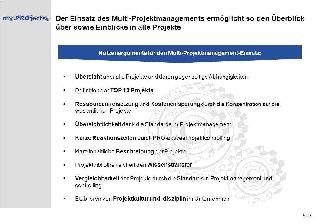 Nutzenargumente für den Multi-Projektmanagement-Einsatz: