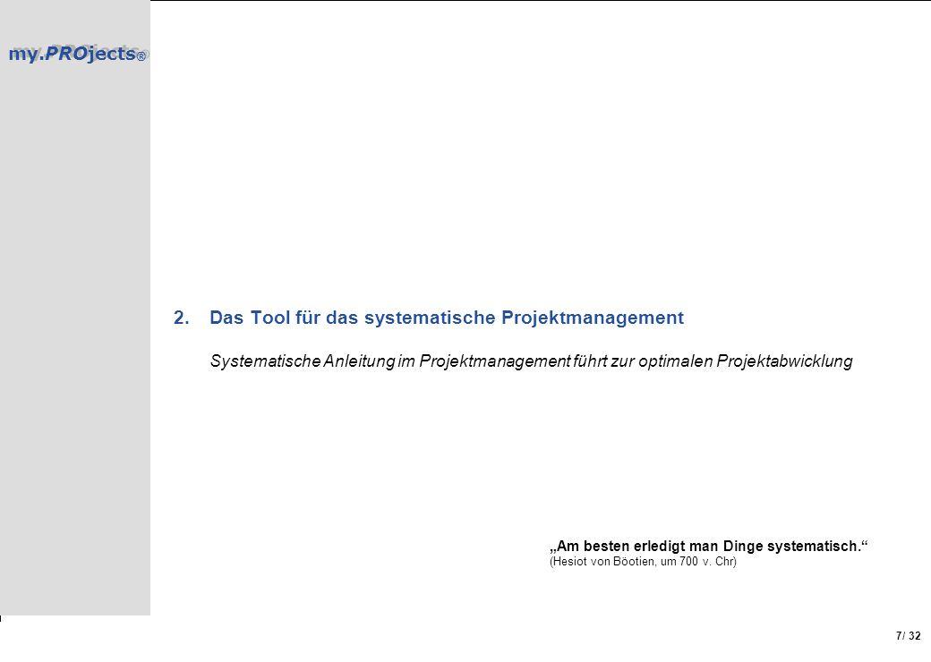 Das Tool für das systematische Projektmanagement Systematische Anleitung im Projektmanagement führt zur optimalen Projektabwicklung