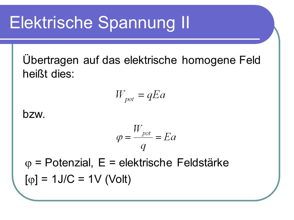 Elektrische Spannung II