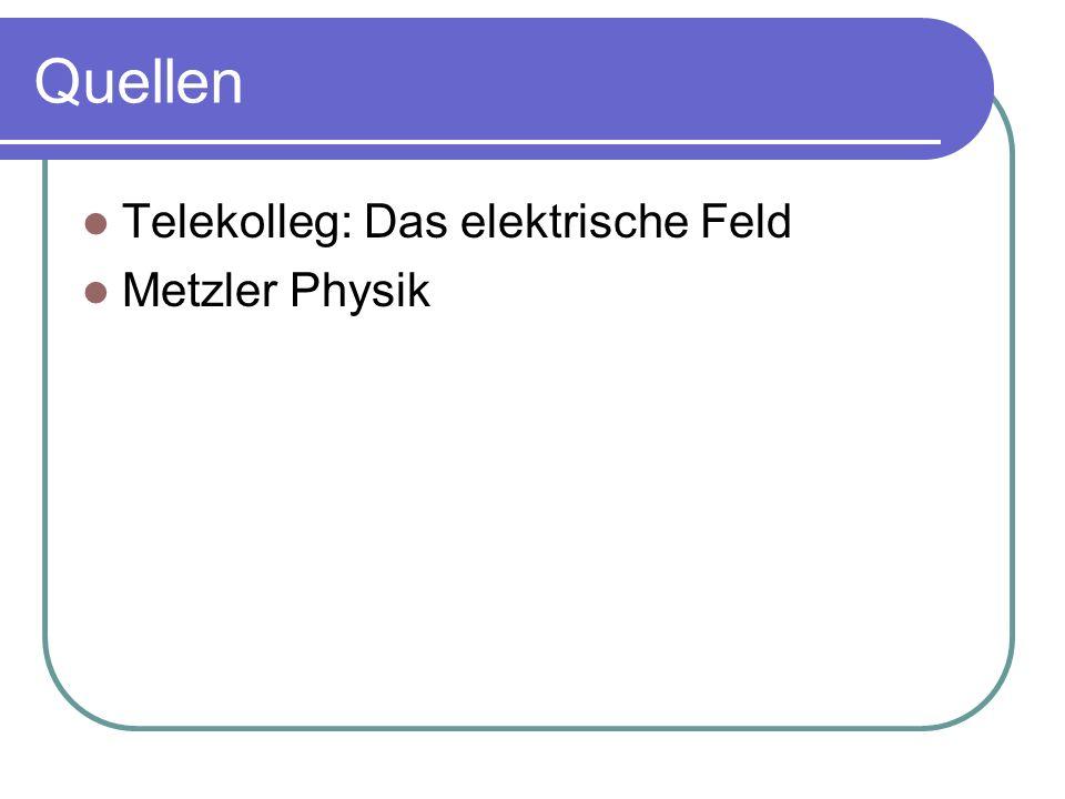 Quellen Telekolleg: Das elektrische Feld Metzler Physik