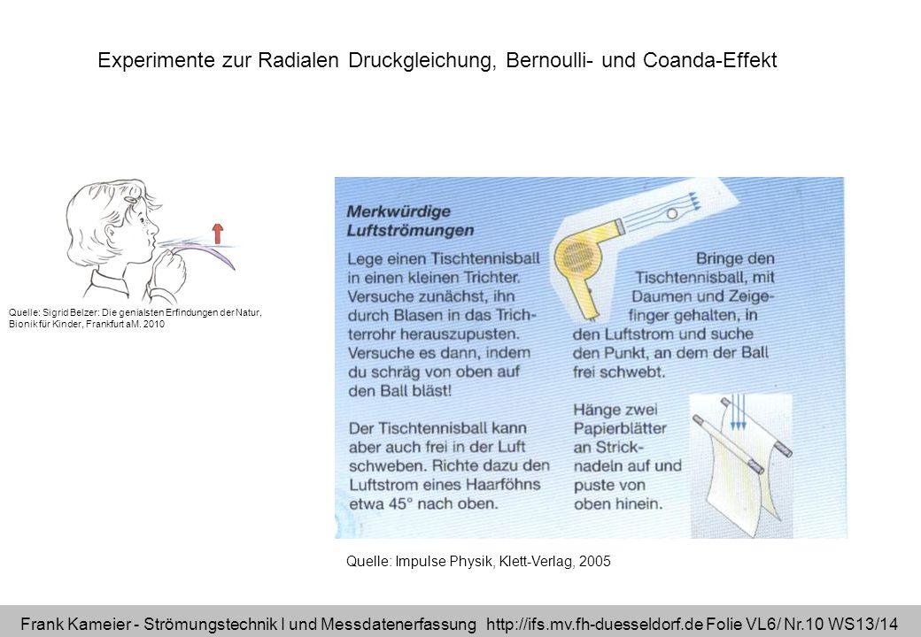 Experimente zur Radialen Druckgleichung, Bernoulli- und Coanda-Effekt