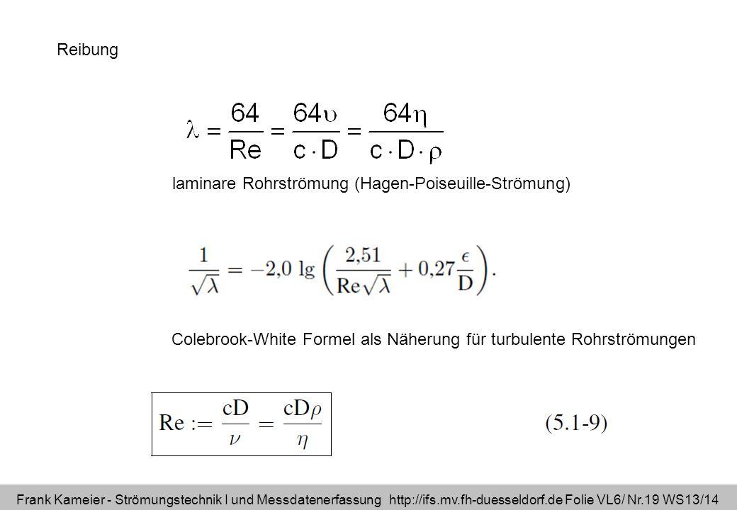 Reibung laminare Rohrströmung (Hagen-Poiseuille-Strömung) Colebrook-White Formel als Näherung für turbulente Rohrströmungen.