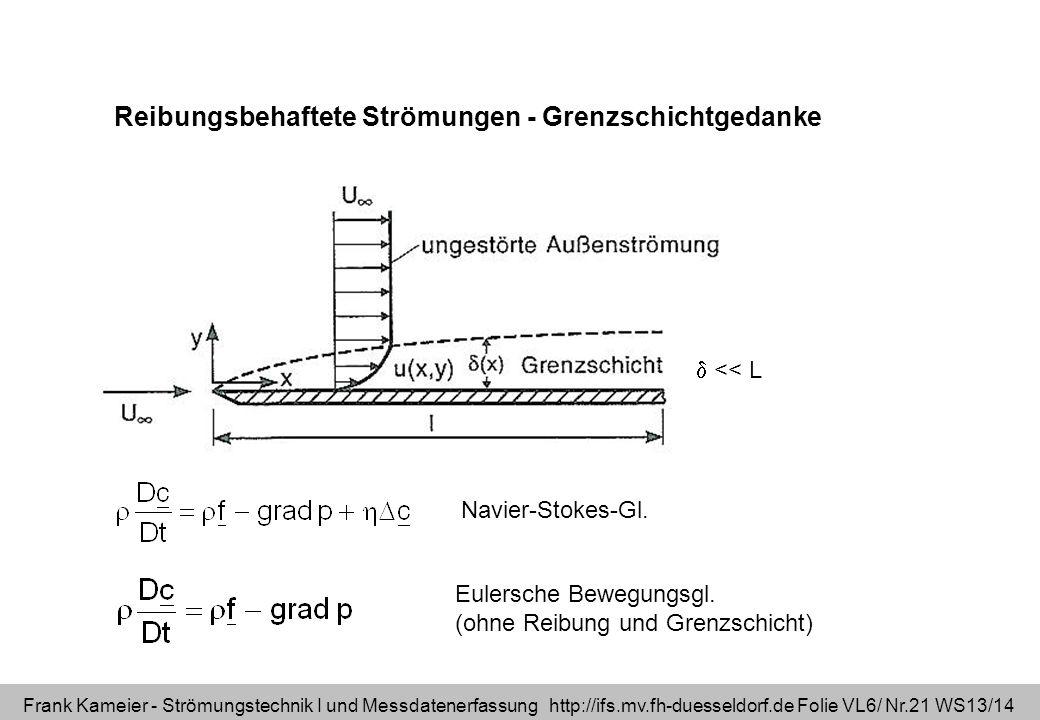 Reibungsbehaftete Strömungen - Grenzschichtgedanke