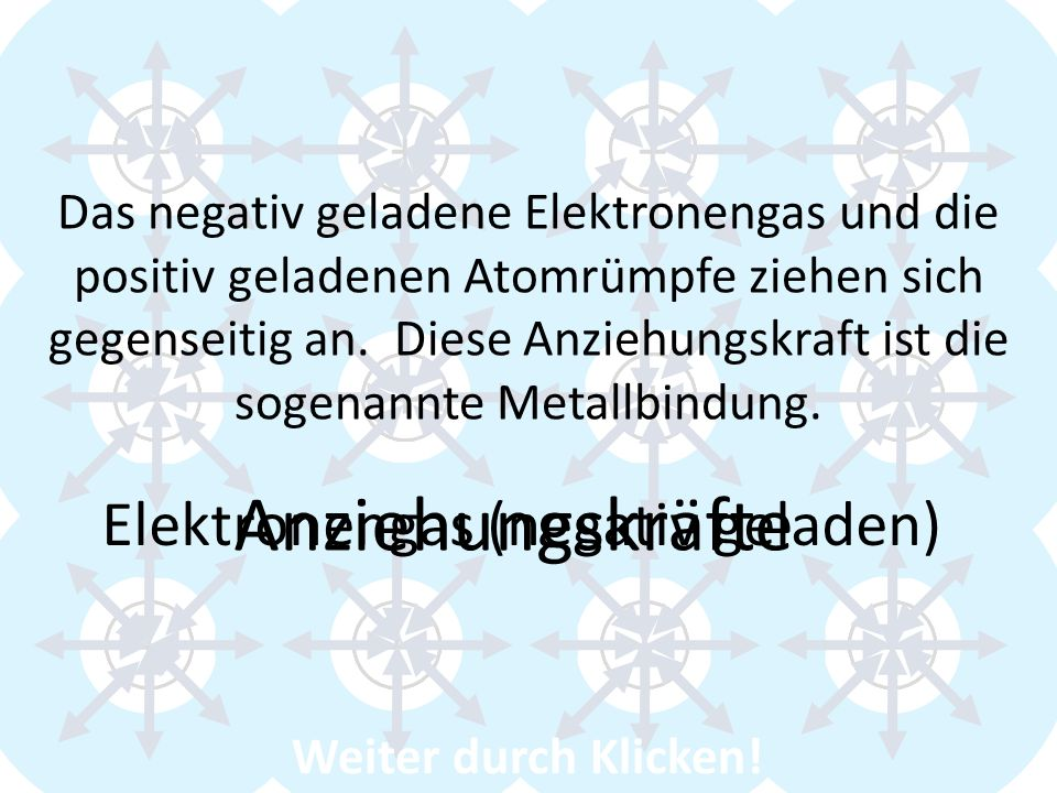 Anziehungskräfte Elektronengas (negativ geladen) + + + + + + + + + + +