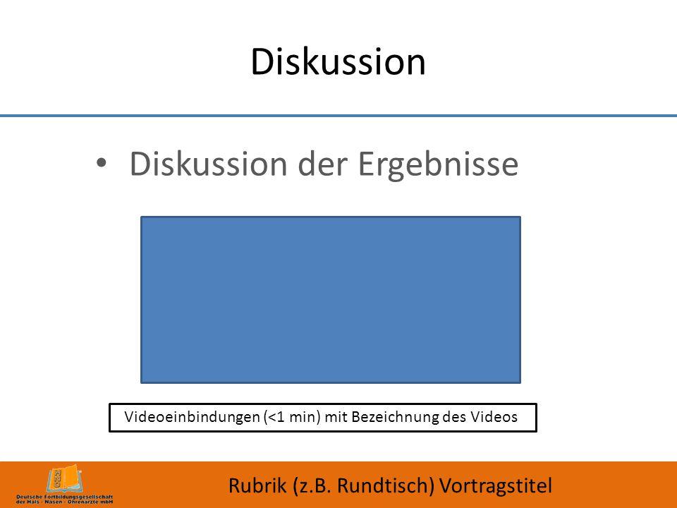 Diskussion der Ergebnisse