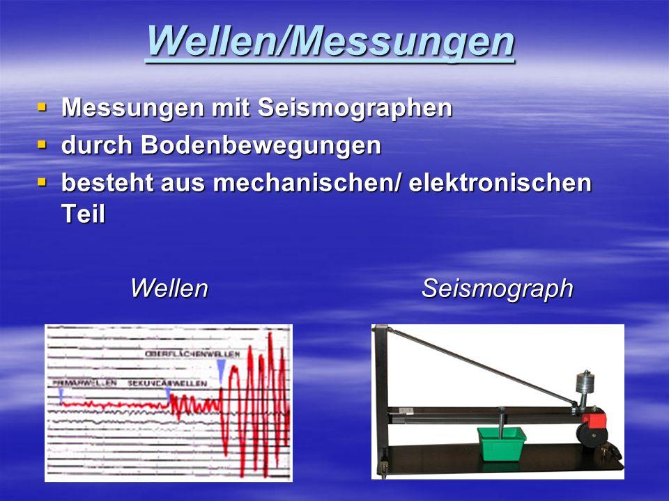 Wellen/Messungen Messungen mit Seismographen durch Bodenbewegungen