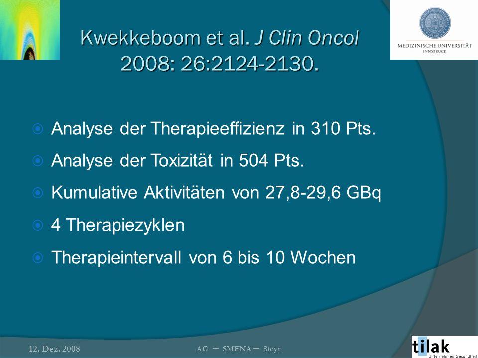 Kwekkeboom et al. J Clin Oncol 2008: 26:2124-2130.