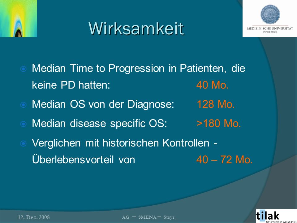 Wirksamkeit Median Time to Progression in Patienten, die keine PD hatten: 40 Mo. Median OS von der Diagnose: 128 Mo.